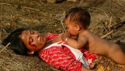 사망한 어머니의 젖을 빨고 있는 아이