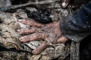 쓰레기를 줏는 손