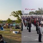 ▲ 제이콥 루카티스가 찍어 공개한 남한과 북한의 광장 모습. 왼쪽이 남한, 오른쪽이 북한