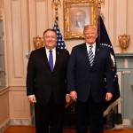 폼페이오 국무장관(왼쪽)과 트럼프 대통령(오른쪽)