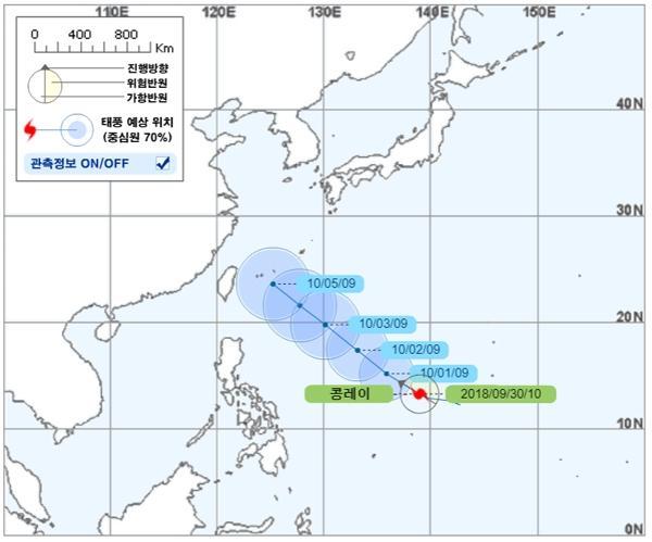 25호 태풍 '콩레이' 예상 이동 경로.