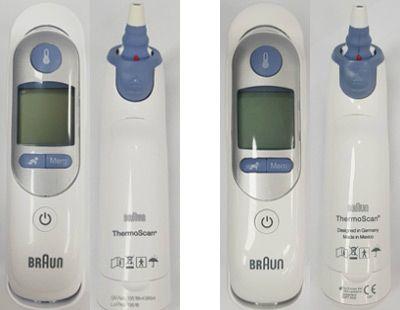 식약처가 제공한 귀적외선 체온계. 왼쪽이 정식 수입 제품. 오른쪽이 위조품.